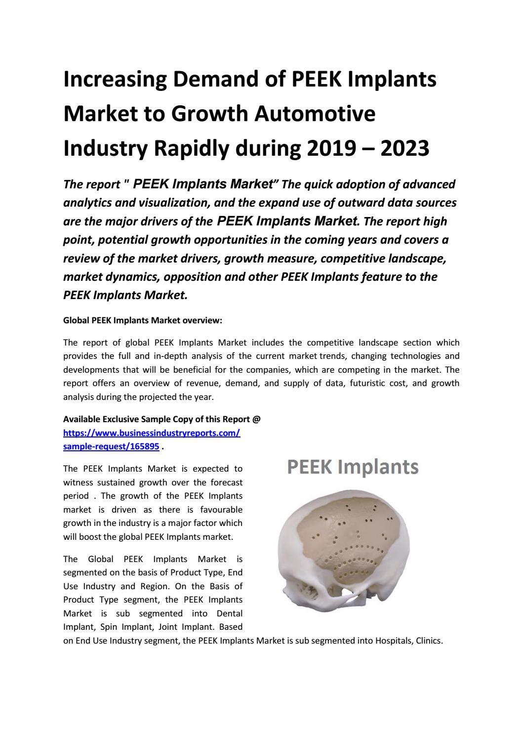 Increasing Demand of PEEK Implants Market to Growth