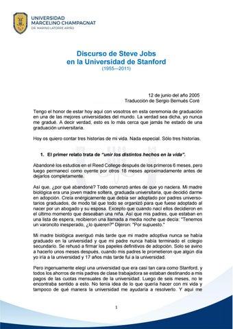 Discurso de Steve Jobs en la Universidad de Stanford by UNIVERSIDAD