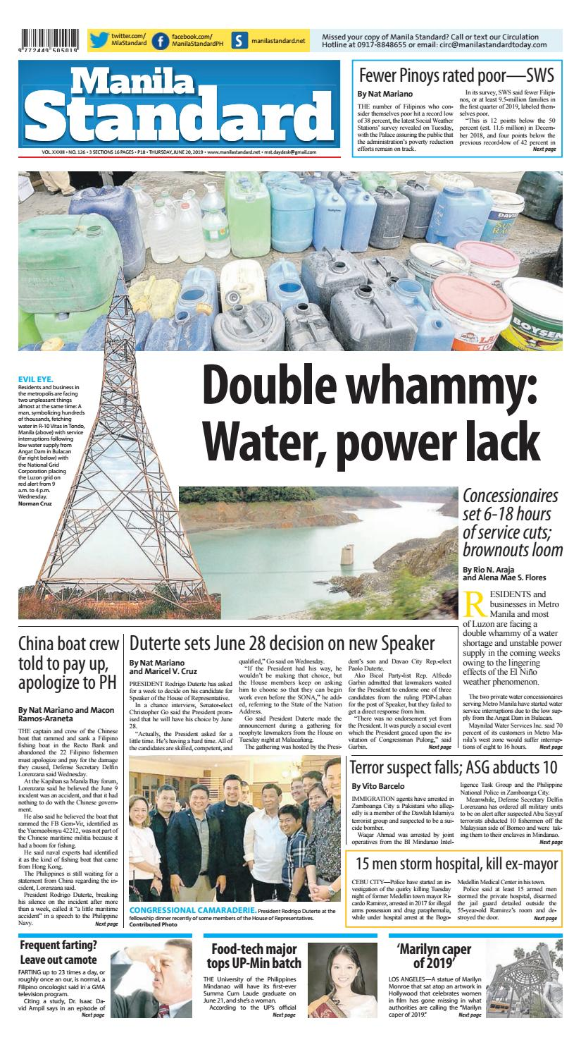 Manila Standard - 2019 June 20 - Thursday by Manila Standard