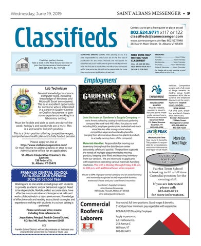 6/19/19 Classifieds by St  Albans Messenger - issuu