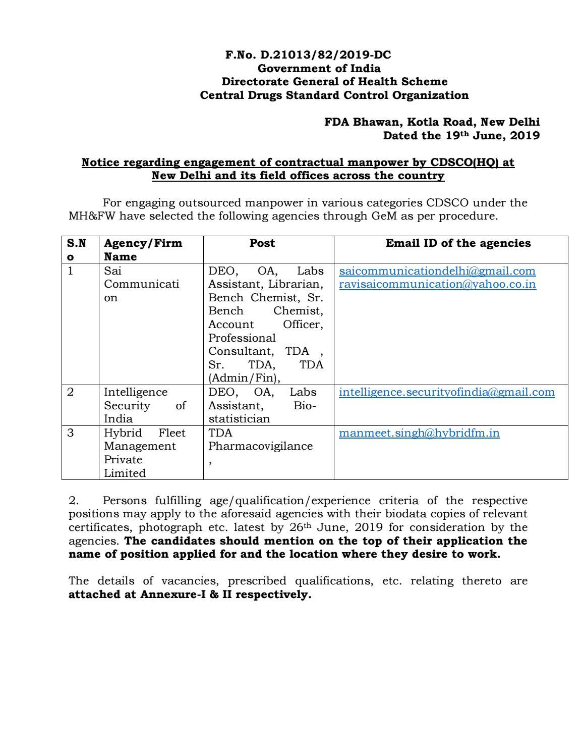 Govt CDSCO Biotech / Microbio / Mol  Biology Jobs With Rs  80,000 pm