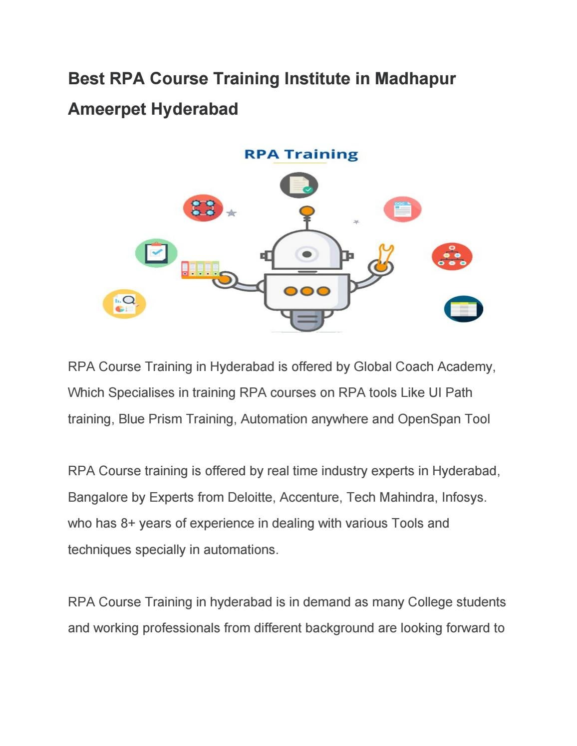 Best RPA Course Training Institute in Madhapur Ameerpet Hyderabad by