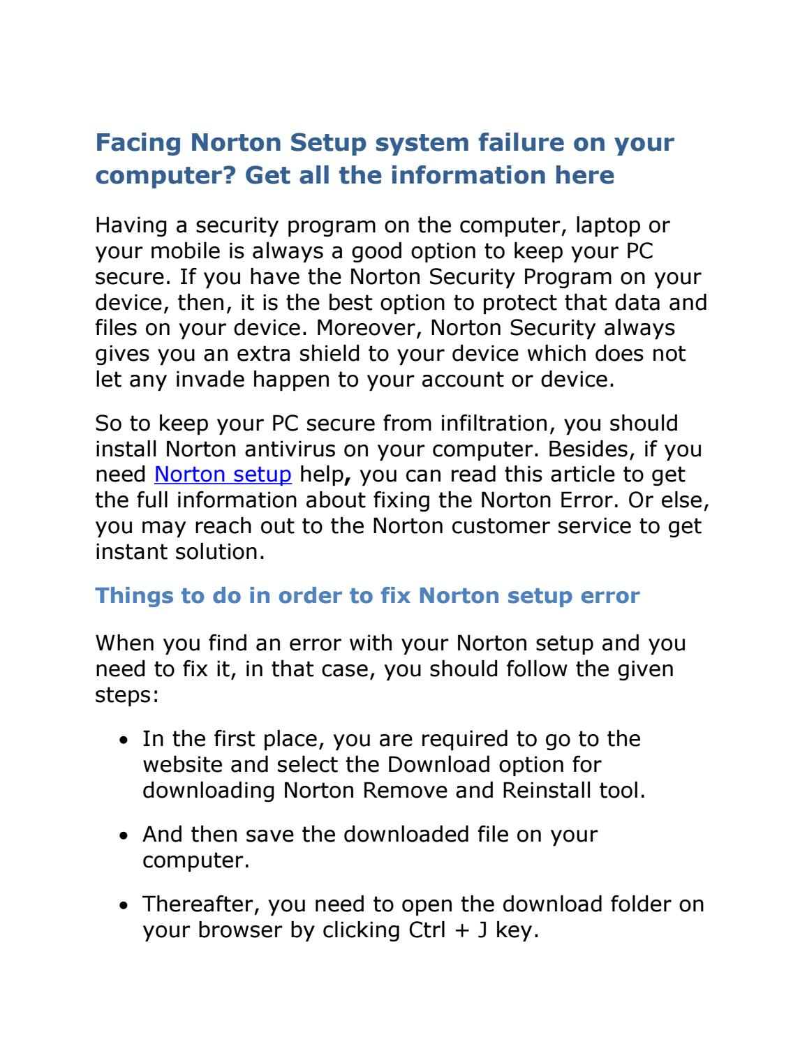 How to fix norton setup system error? by Anpuhelp - Issuu