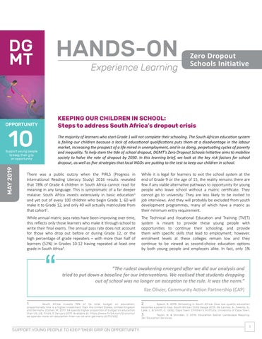Hands on Learning Brief Zero School Dropout by DG Murray