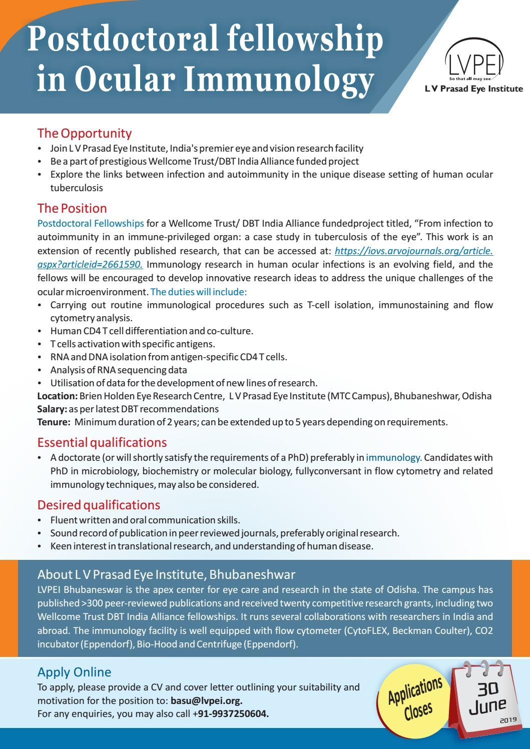 Wellcome Trust/ DBT PostDoc Fellowship Project in Ocular