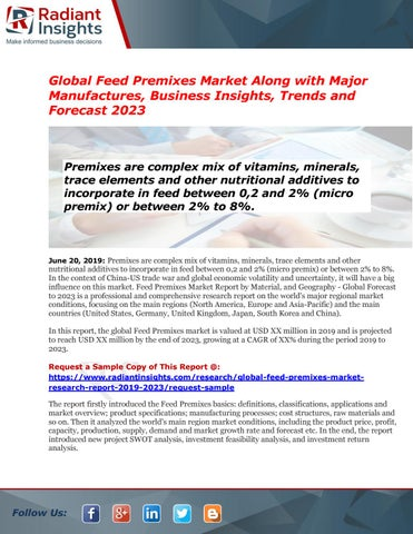 Feed Premixes Market Report: Detailed analysis of top players 2023