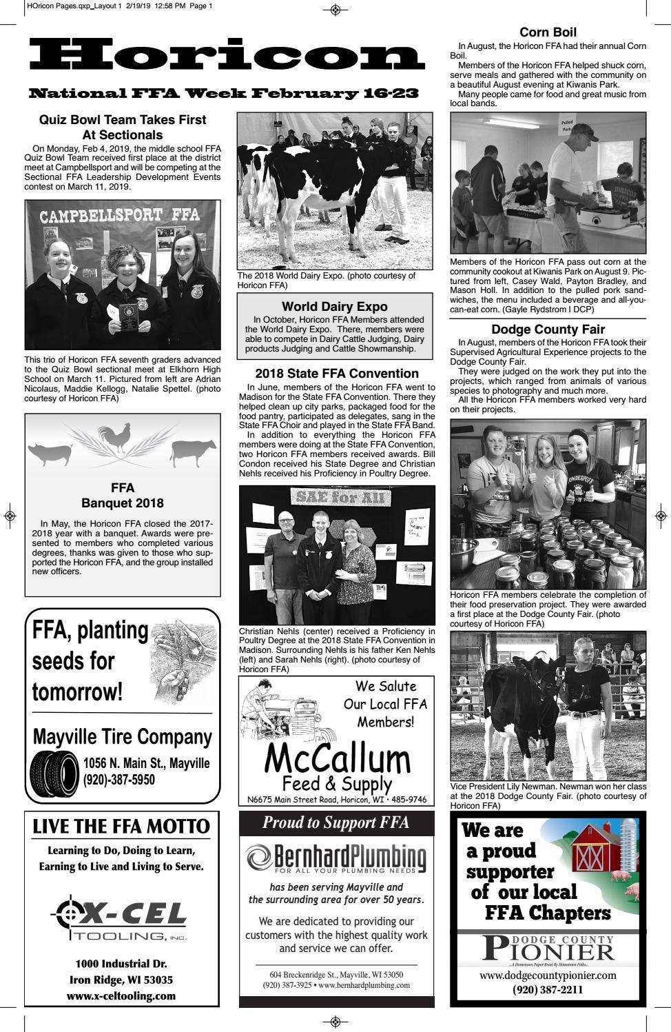 Horicon FFA 2019 by Dodge County Pionier - issuu