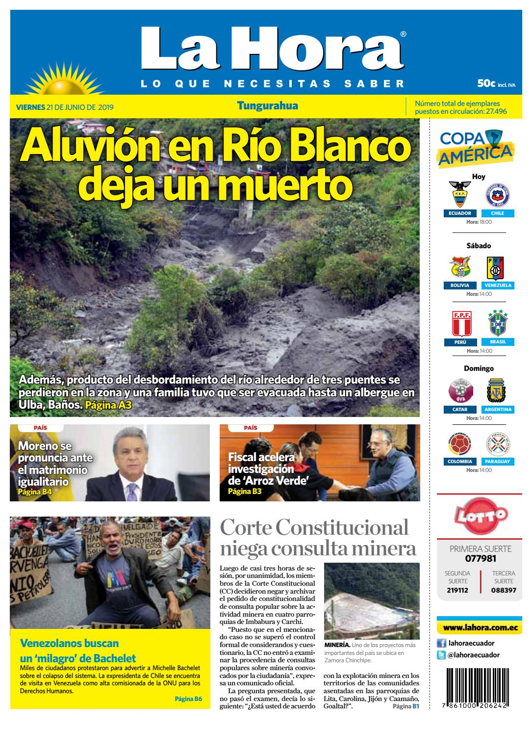 By Issuu La De Tungurahua 2019 21 Ecuador Diario Junio Hora wX8nP0Ok