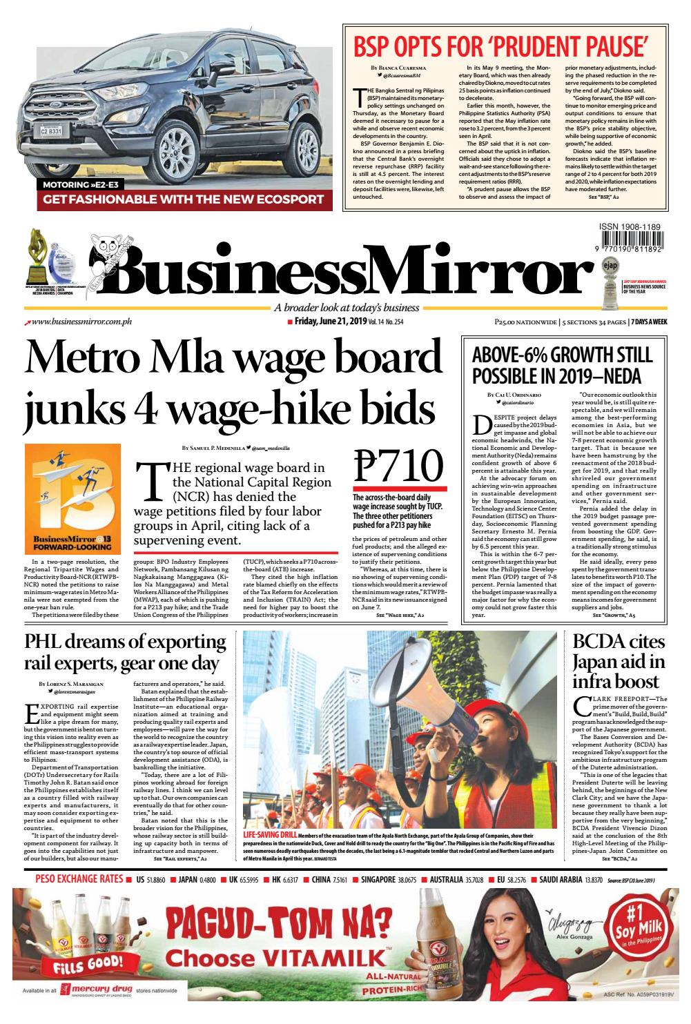 Businessmirror June 21, 2019 by BusinessMirror - issuu