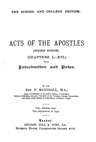 Frank Marshall [1848-1906], Acts of the Apostles (Revised