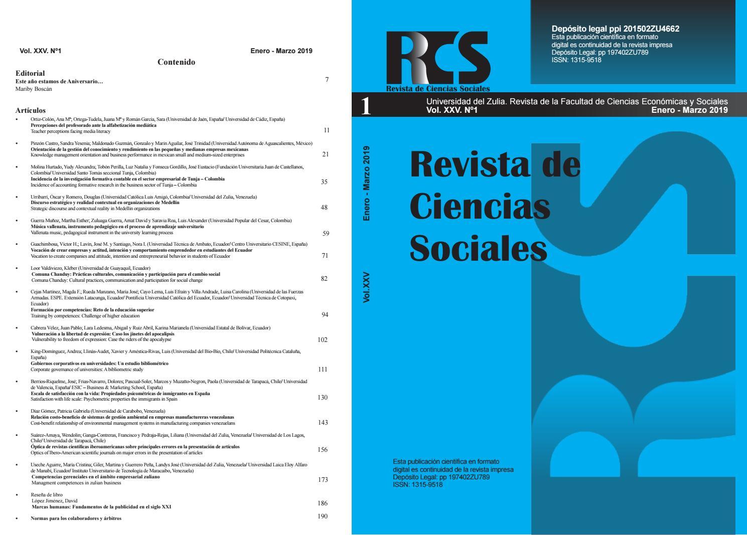 Revista De Ciencias Sociales Vol Xxv No 1 By Rcs Uniluz