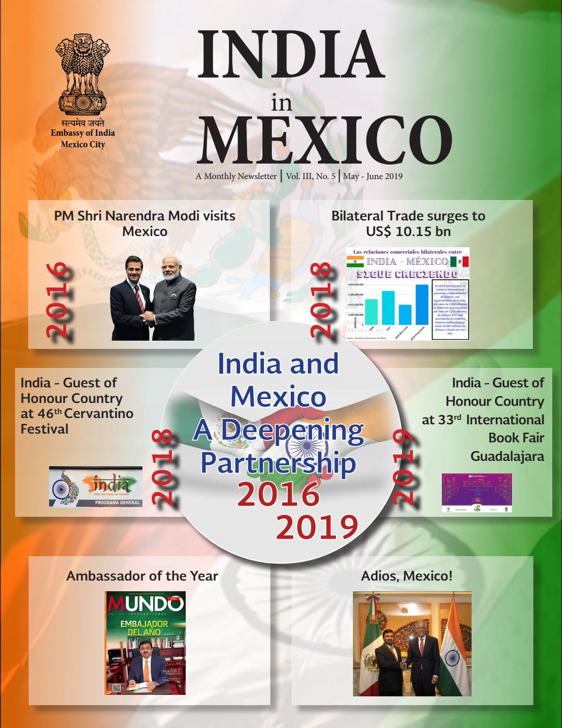 India in Mexico Newsletter May-June 2019 by Embassy of India