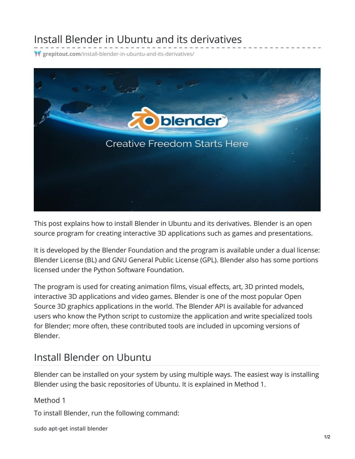 Install Blender in Ubuntu and its derivatives by zainsandina