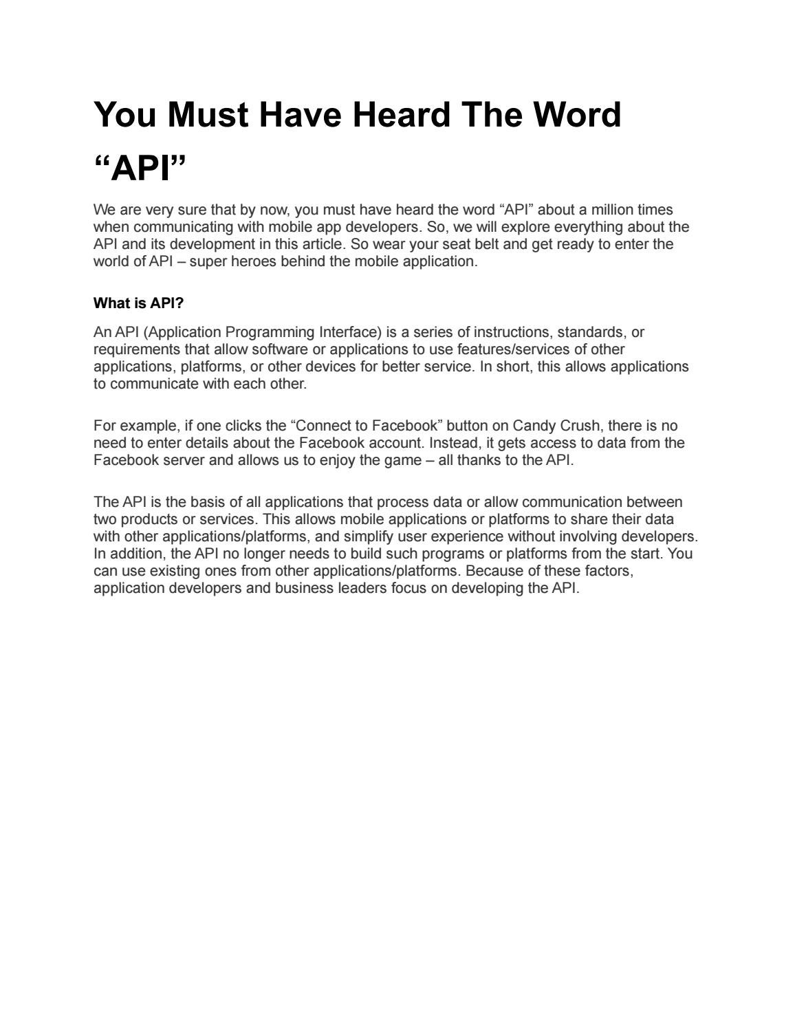 """You Must Have Heard The Word """"API"""" by seo lucentasolutions"""