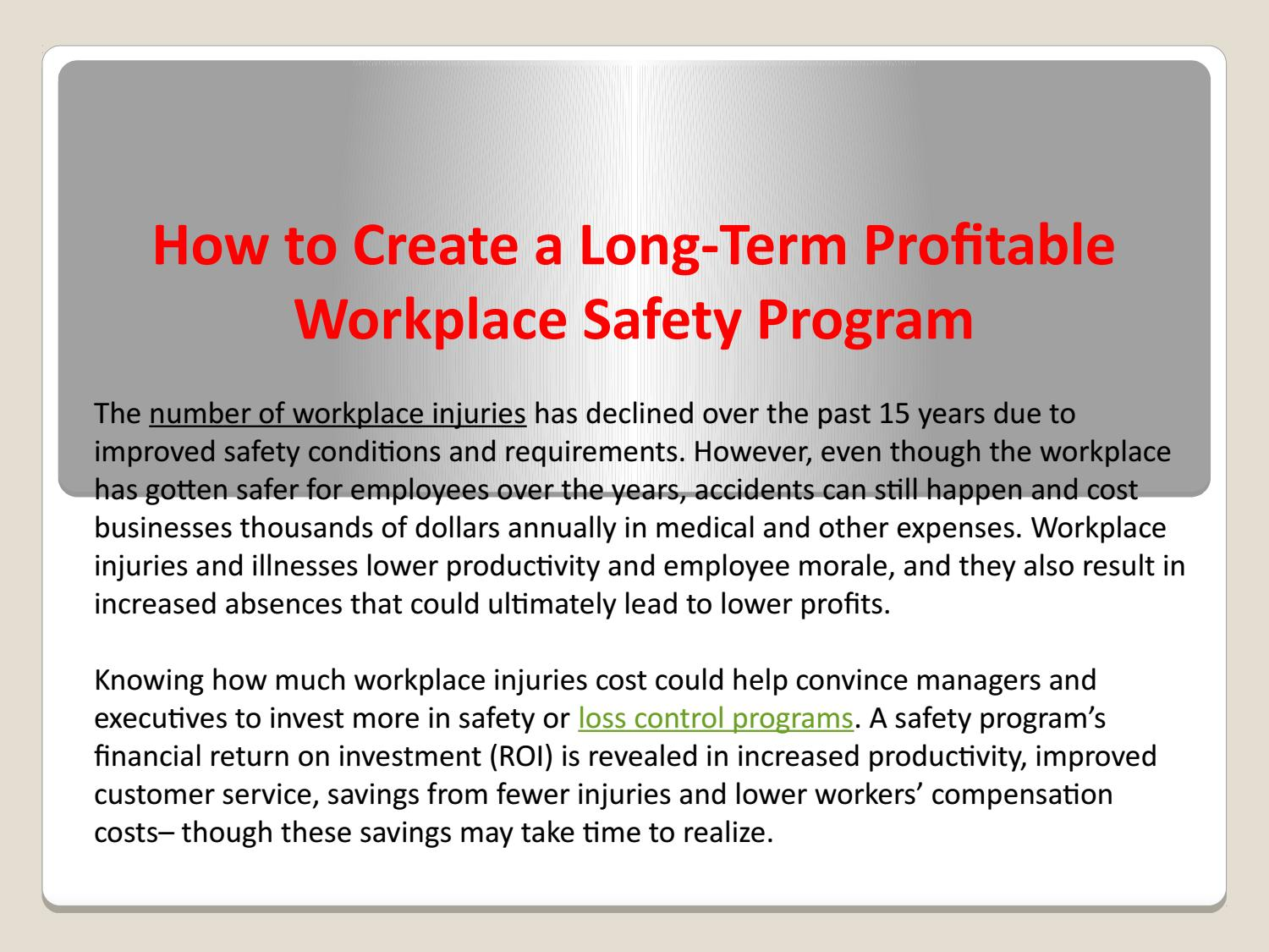 How to Create a Long-Term Profitable Workplace Safety