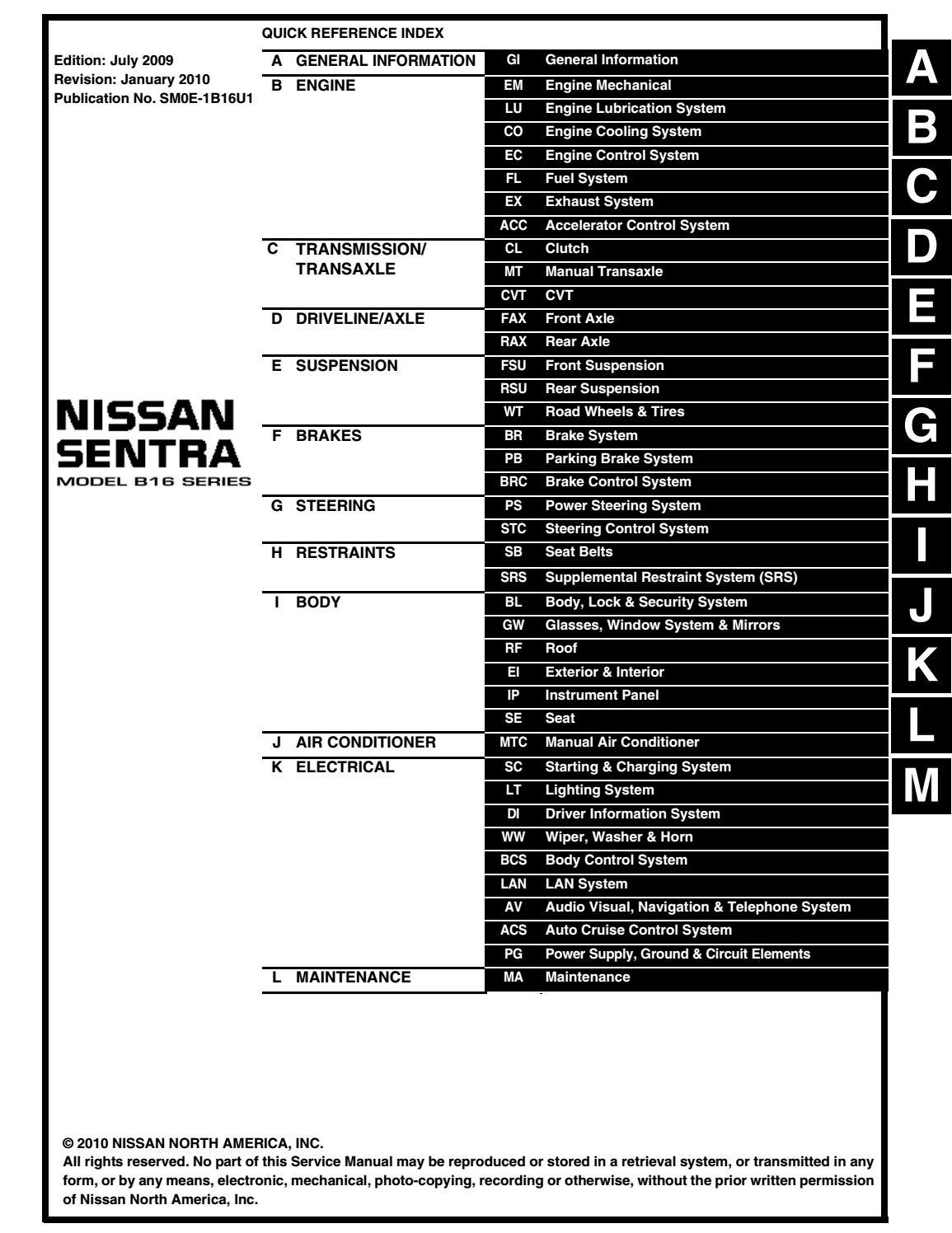 2010 Nissan Sentra Service Repair Manual By 1632310101 Issuu