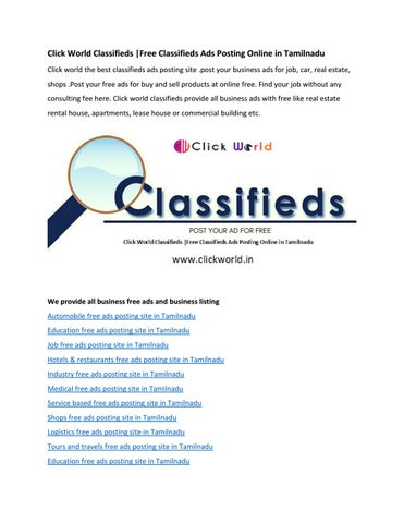 Click World Classifieds  Free Classifieds Ads Posting Online in
