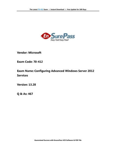 70-412 Exam Real Questions & Answers by EnsurePass by