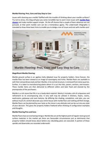 Marble Flooring Pros Cons And Easy Step To Care By Manmachine