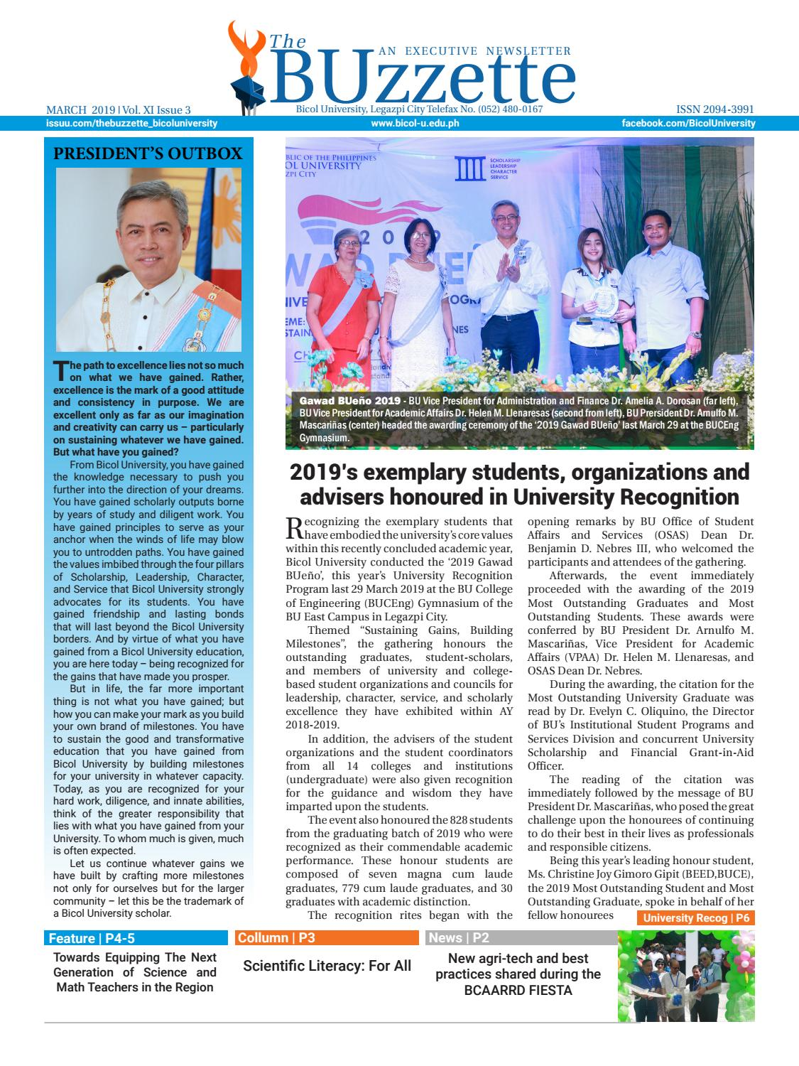 March 2019 by The Buzzette - Bicol University - issuu