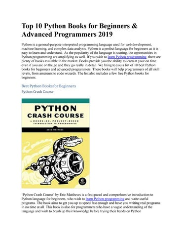 Top 10 Python Books for Beginners & Advanced Programmers 2019 by