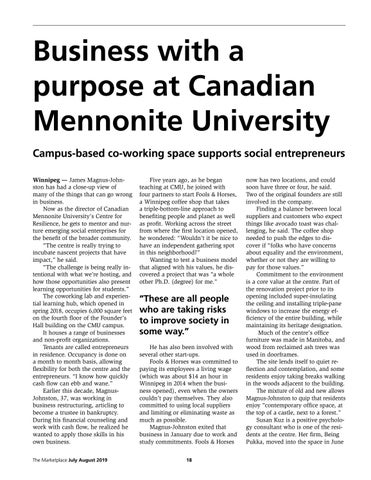 Page 18 of Business with a purpose at Canadian Mennonite University