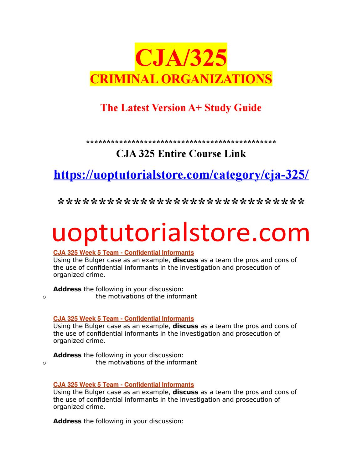 CJA 325 Week 5 Team - Confidential Informants (2)- uopstudy