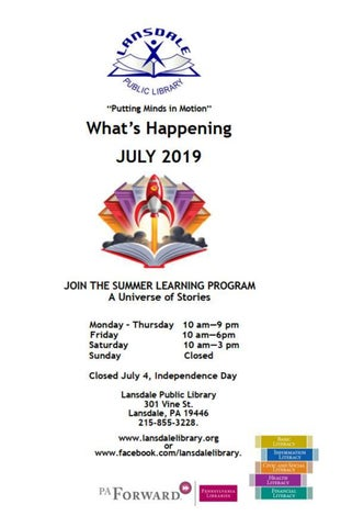 Page 1 of What's Happening at Lansdale Library July 2019