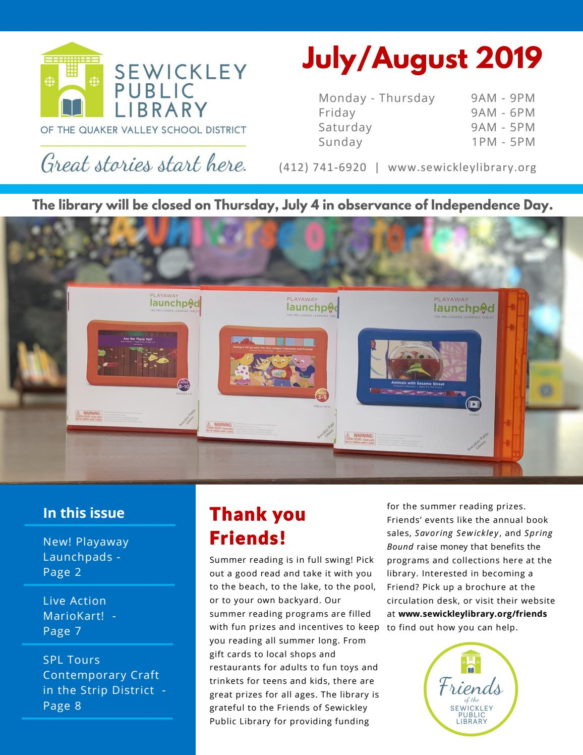July/August 2019 by Sewickley Public Library - issuu