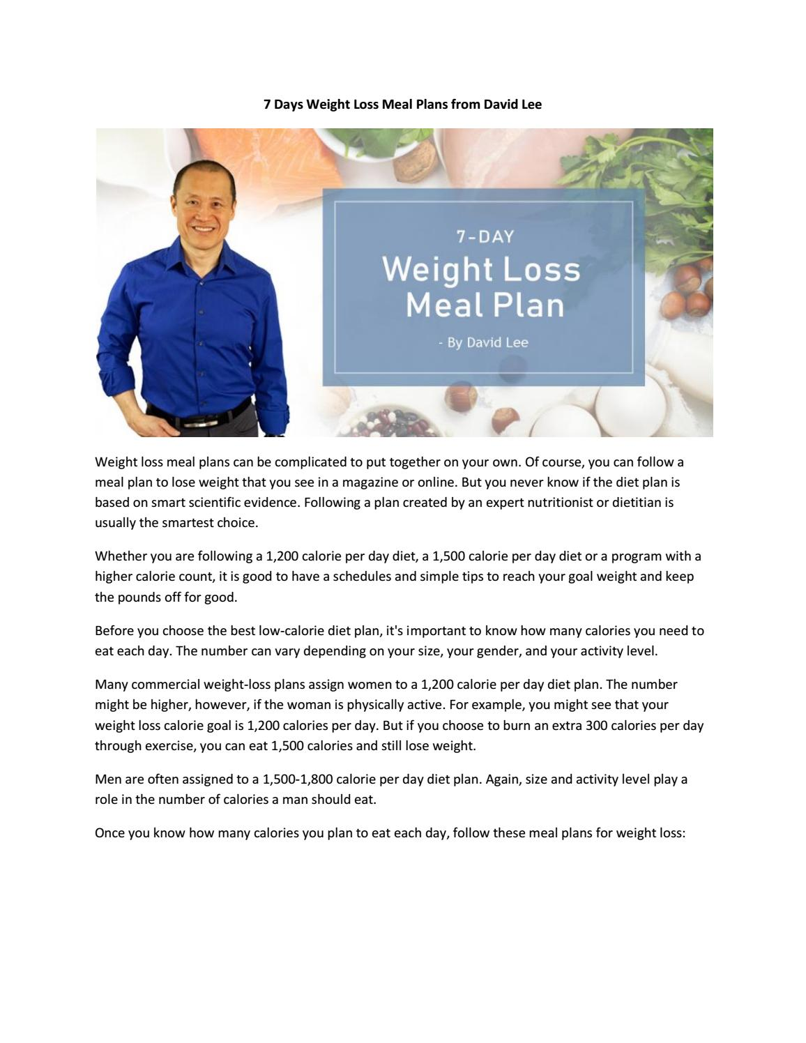 7 Days Weight Loss Meal Plans From David Lee By David Lee Issuu