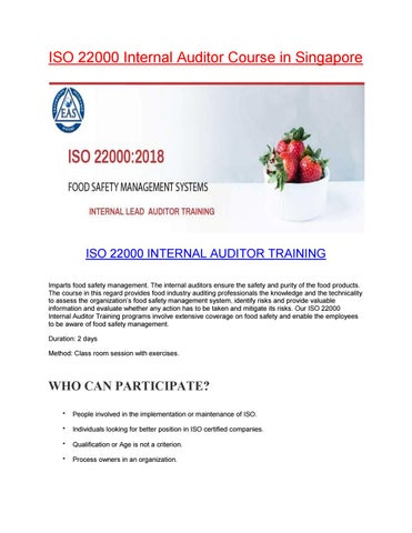 Food Lead Auditor Course