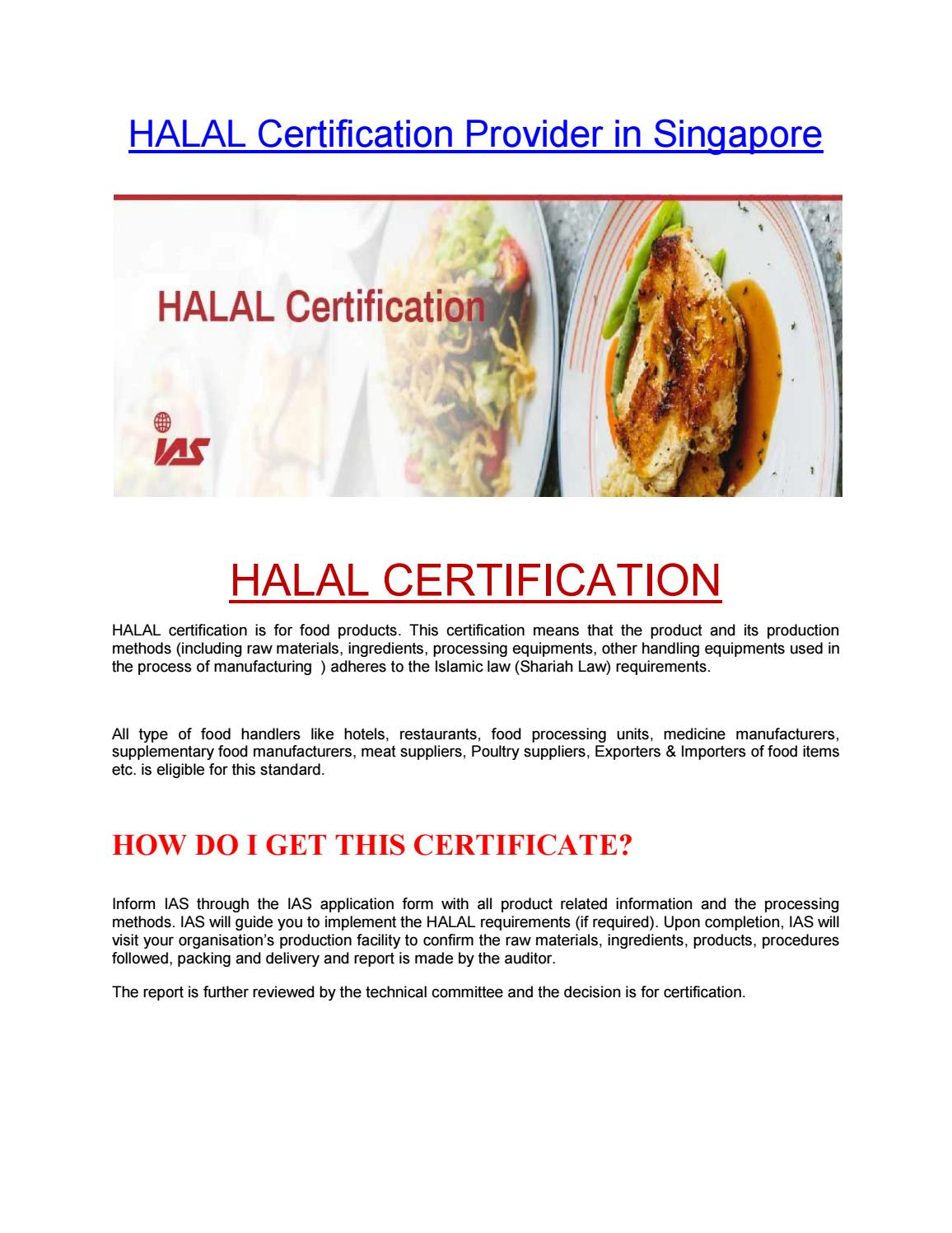 HALAL Certification Provider in Singapore by iassingapore
