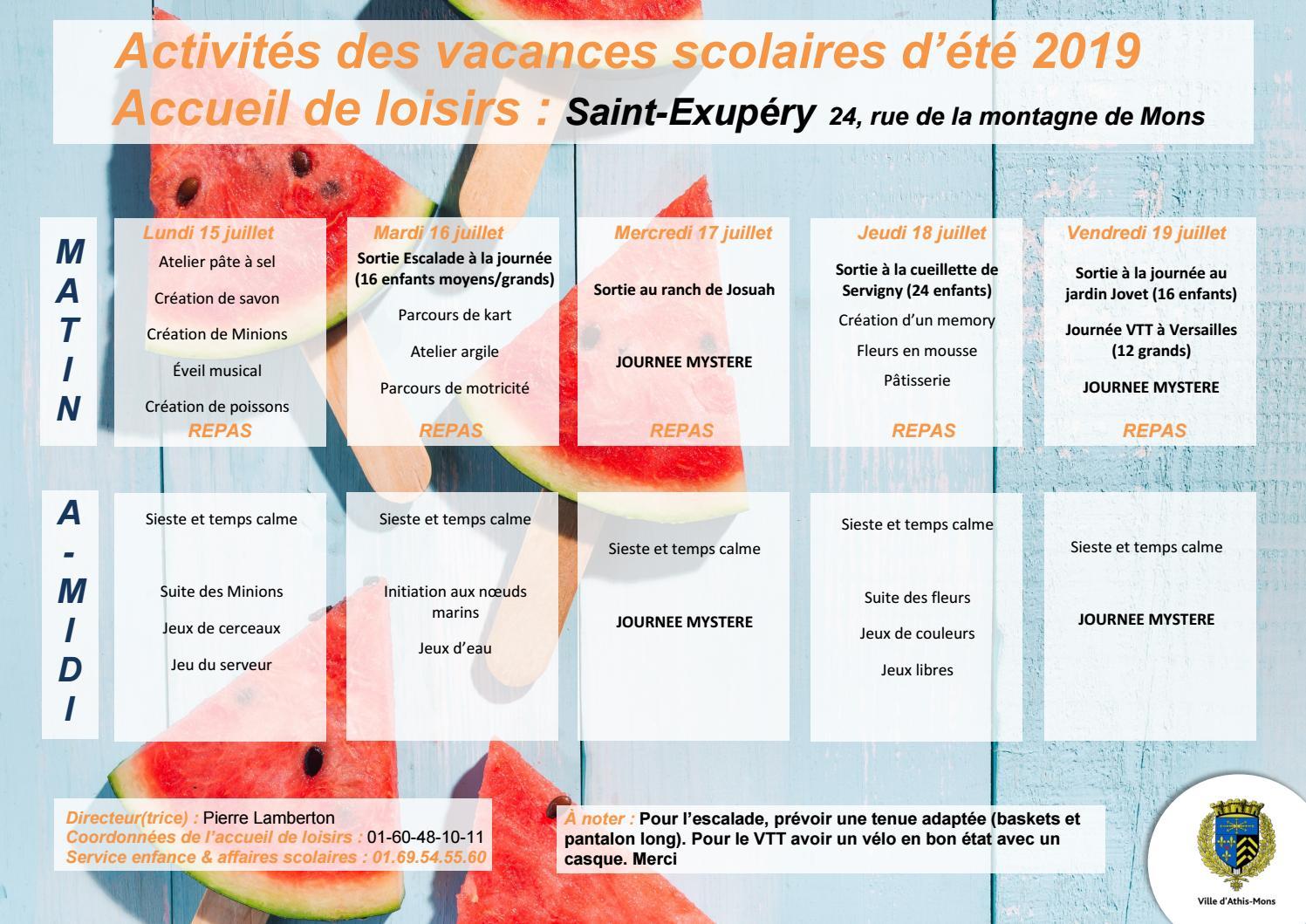 Activites Des Vacances D Ete Saint Exupery By Mairie D Athis Mons