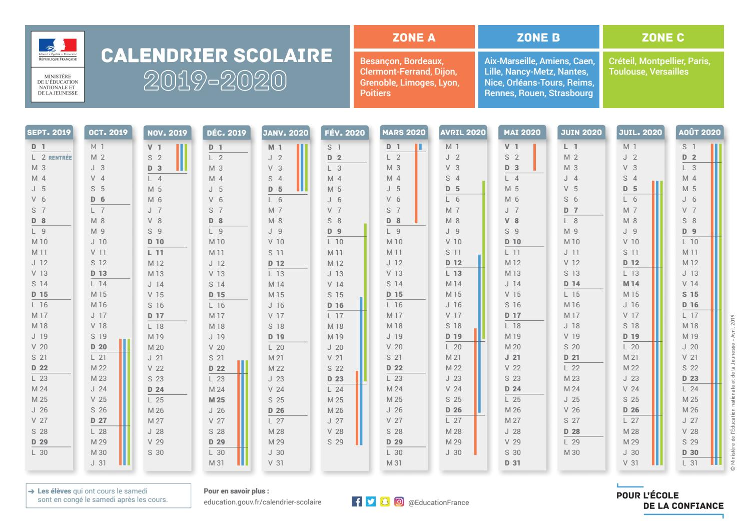 Calendrier 20.Calendrier Scolaire 2019 2020 By Francetv99 Issuu