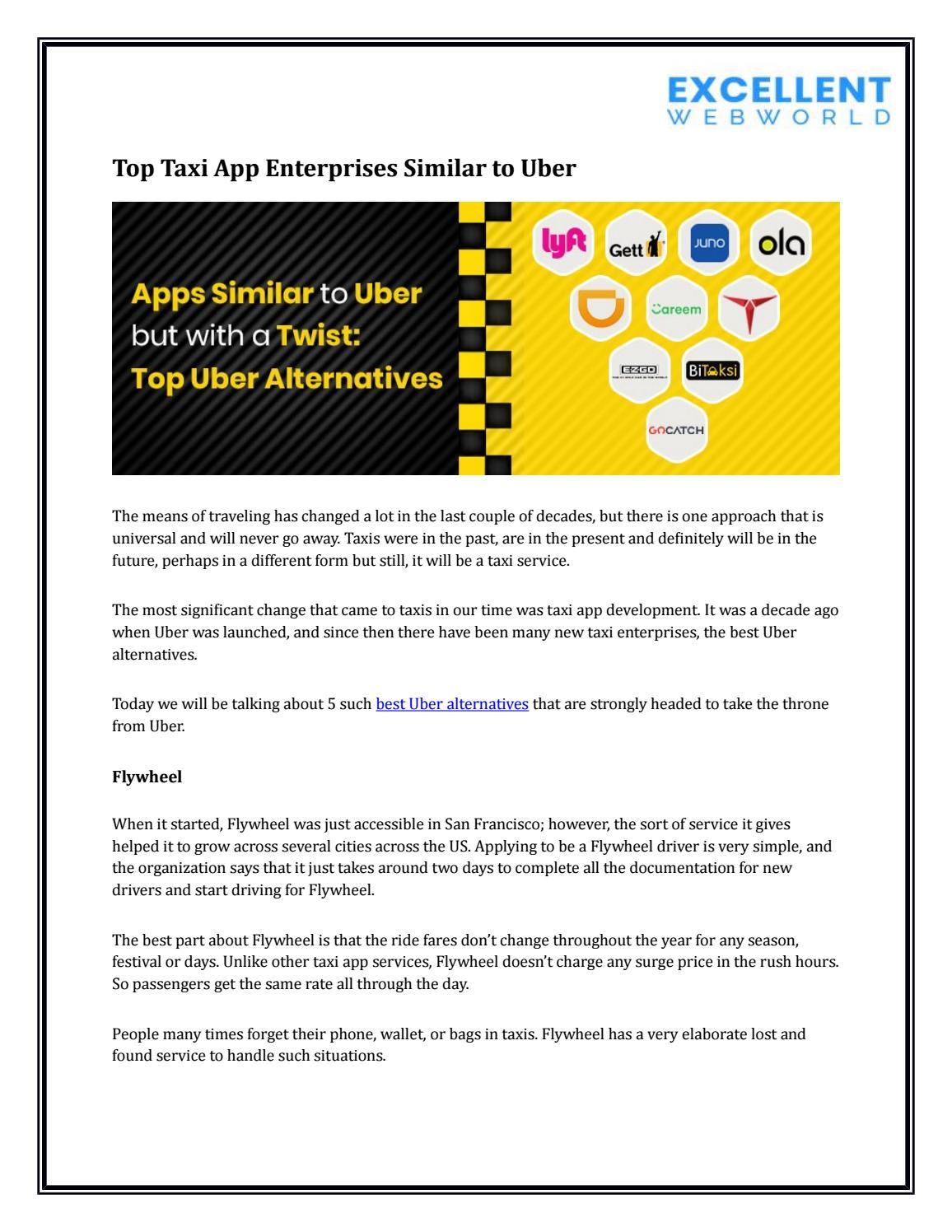 Top Taxi App Enterprises Similar to Uber by Paresh Sagar - issuu