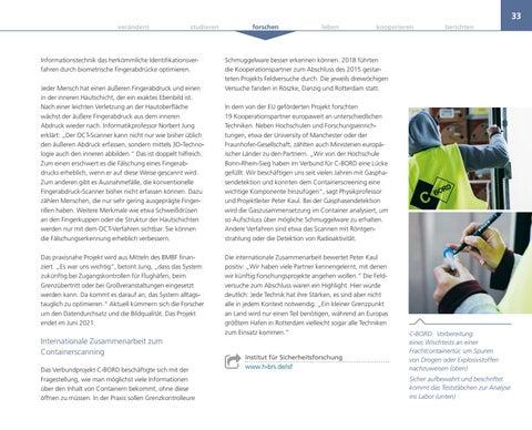 Page 33 of Forschungsschwerpunkt Sicherheit Das Institut für Sicherheitsforschung (ISF) entwickelt und verbessert Verfahren, um Gefährdungen der Sicherheit zu begegnen