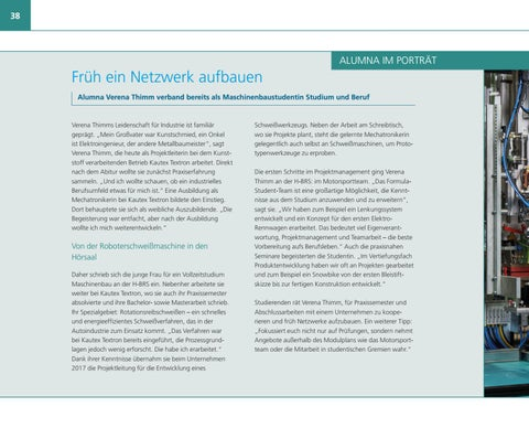 Page 38 of Früh ein Netzwerk aufbauen: Alumna Verena Thimm verband bereits als Maschinenbaustudentin Studium und Beruf