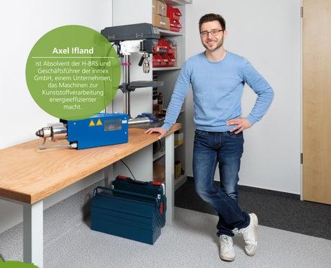Page 53 of Axel Ifland ist Absolvent der H-BRS und Geschäftsführer der inmex GmbH, einem Unternehmen, das Maschinen zur Kunststoffverarbeitung energieeffizienter macht.