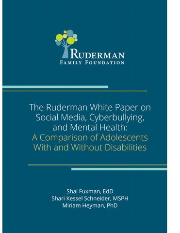 Ruderman Cyber-bullying White Paper by Ruderman Family Foundation