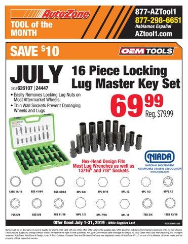 OEMTOOLS 24447 16 Piece Locking Lug Master Key Set