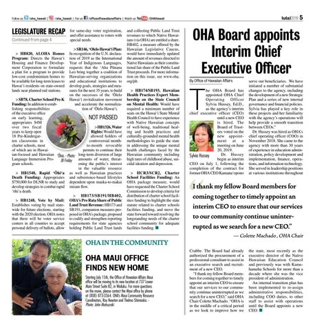 Page 5 of OHA Board appoints Interim Chief Executive Officer