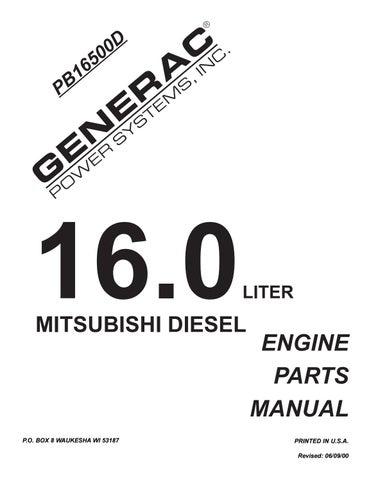 Generac Generator 16 0 Liter Diesel Mitsubishi Engine Parts