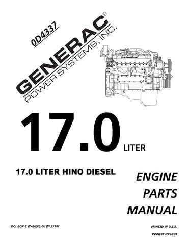 Generac Generator 17 0 Liter Hino Diesel Engine Parts Manual