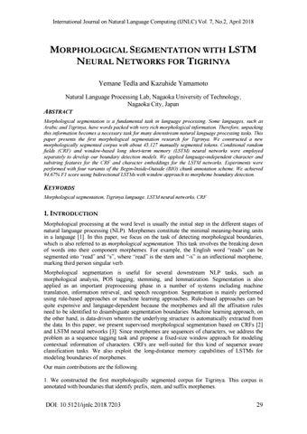 MORPHOLOGICAL SEGMENTATION WITH LSTM NEURAL NETWORKS FOR