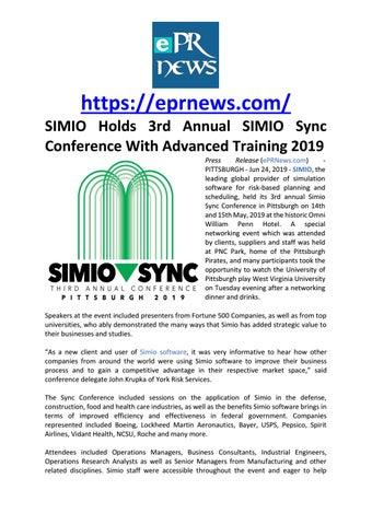 SIMIO Holds 3rd Annual SIMIO Sync Conference With Advanced