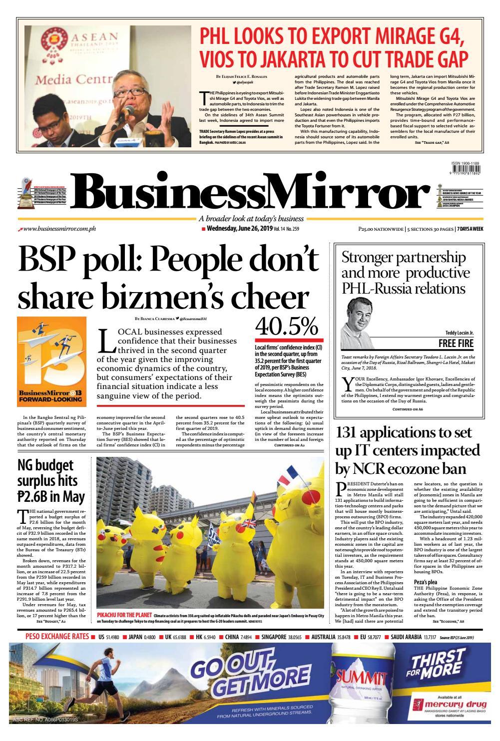 BusinessMirror June 26, 2019 by BusinessMirror - issuu