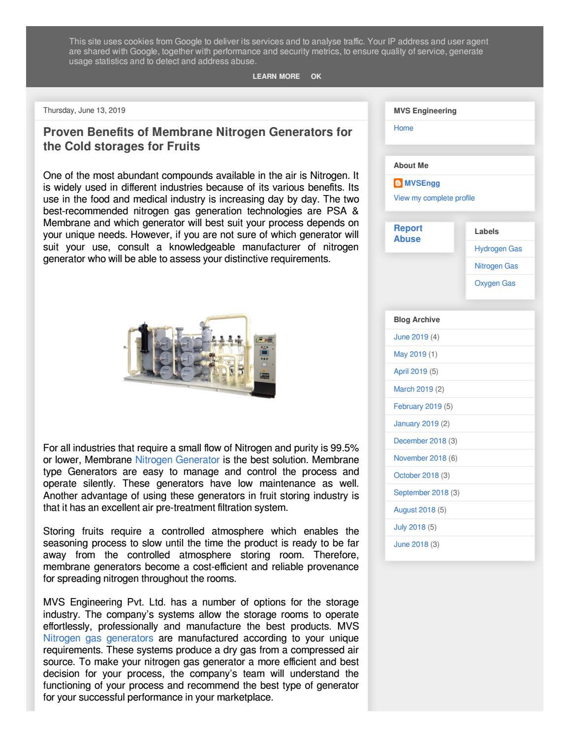 Proven Benefits Of Membrane Nitrogen Generators For The Cold