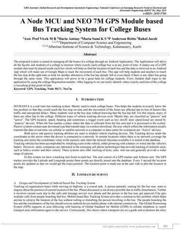 A Node MCU and NEO 7M GPS Module based Bus Tracking System for College Buses