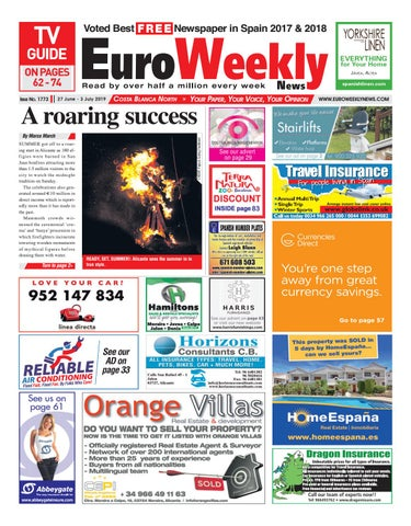49b48517 Euro Weekly News - Costa Blanca North 27 June - 3 July 2019 Issue ...