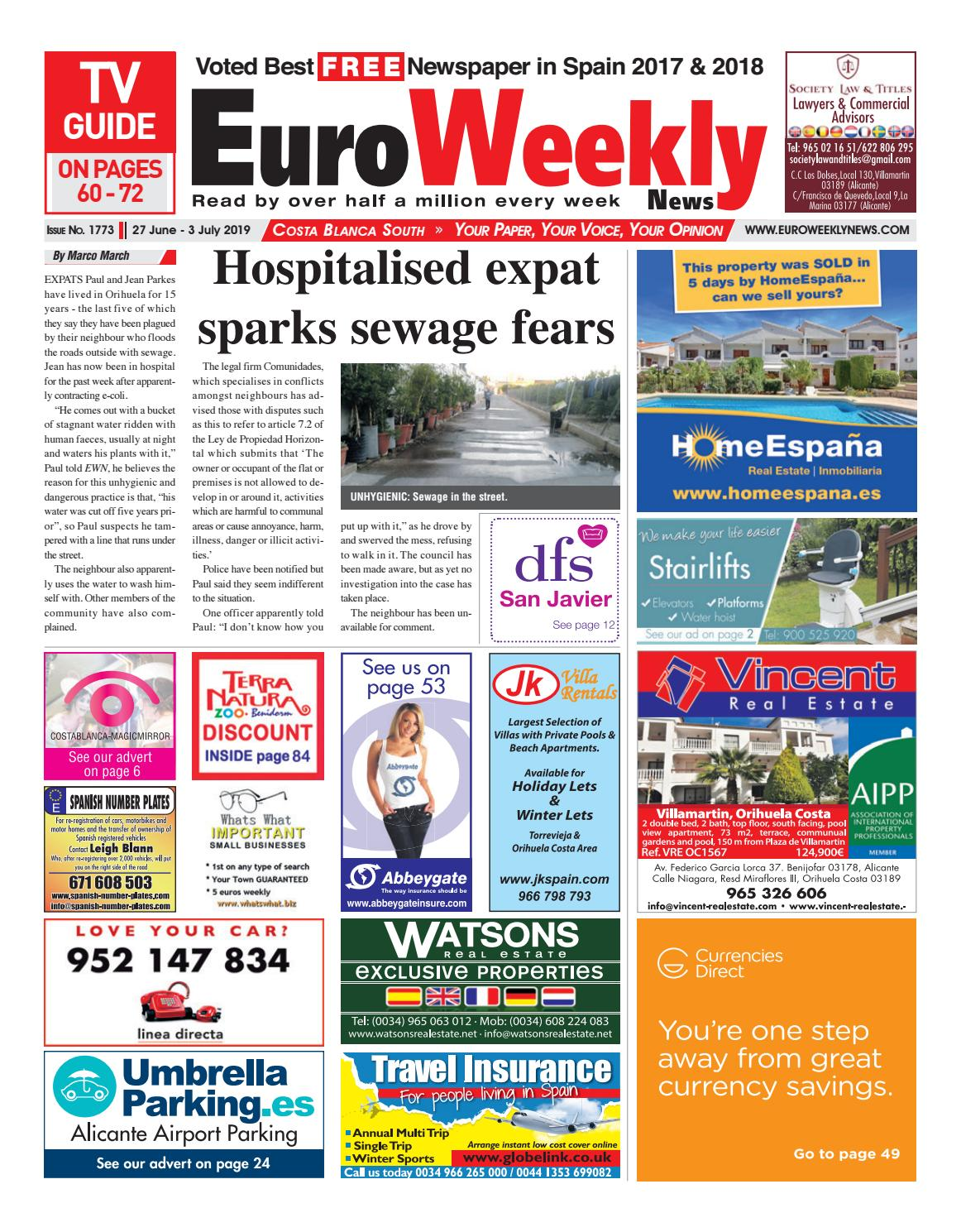 Euro Weekly News Costa Blanca South 27 June 3 July 2019 Issue 1773 By Euro Weekly News Media S A Issuu